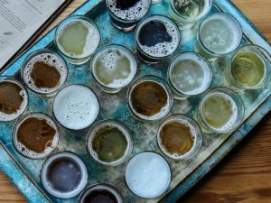 tray of non alcoholic beer for tasting