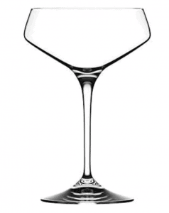 modern crystal coupe glass design tall with angled sides
