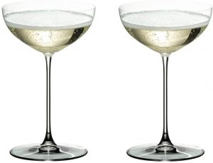 set of 2 luxury Riedel coupe glasses with an elegant shape