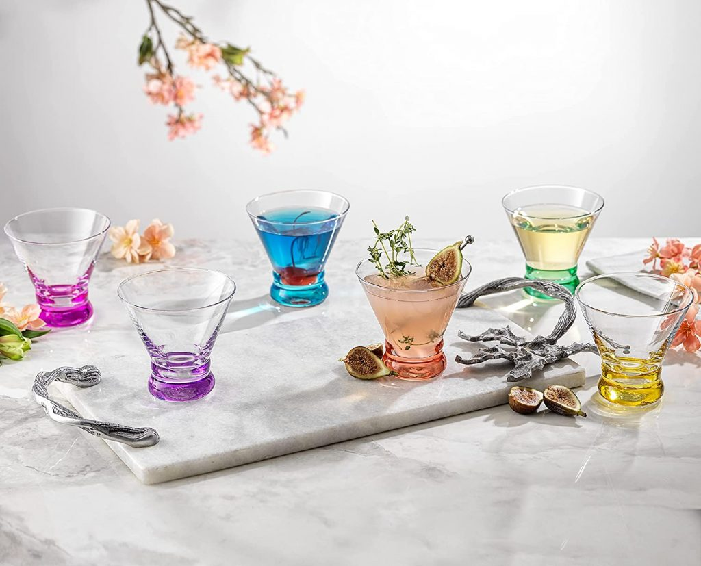 colorful martini glass set on marble table