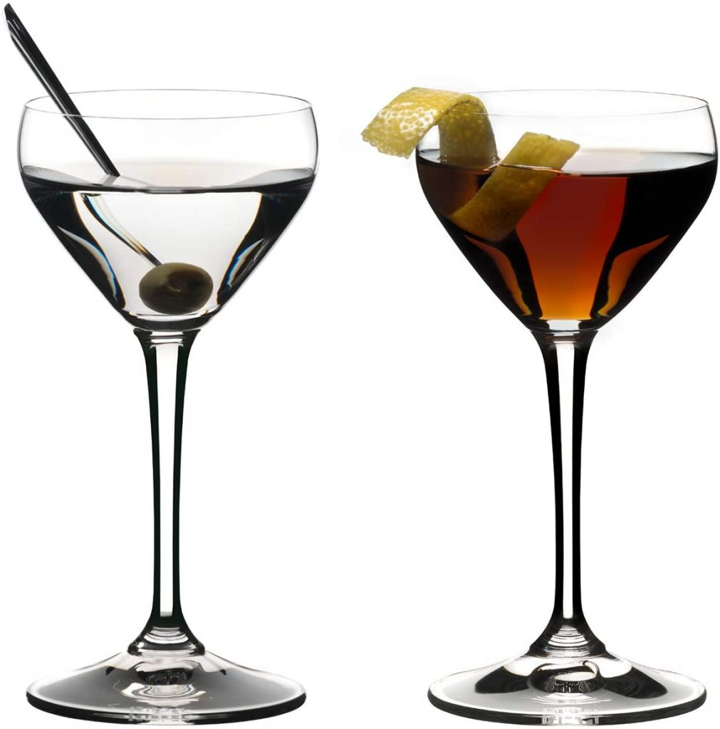 dainty martini coupe glasses with olive and lemon twist
