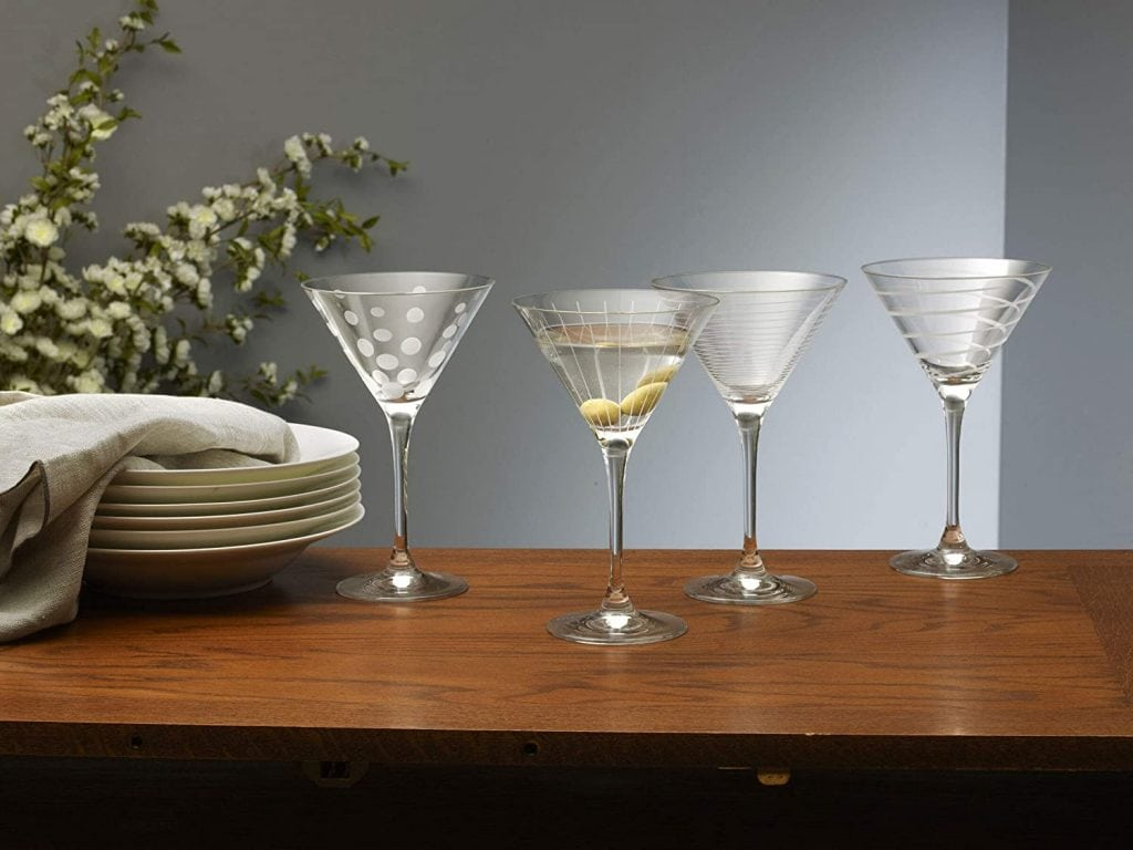 crystal martini glass set with various decorative etched designs
