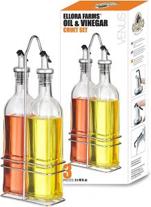 set of two glass pourable bottles for syrup or olive oil