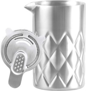 stainless steel insulated mixing glass with a Hawthorne strainer