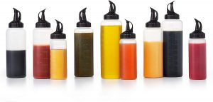 pack of two plastic syrup bottles with closing pour spout and measurement lines
