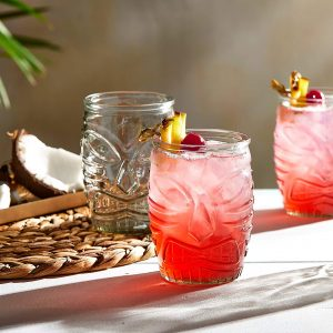 Libbey tiki glass set with traditional face