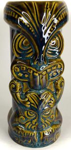 dark bluish green and gold tall tiki mug carved in traditional style and glazed