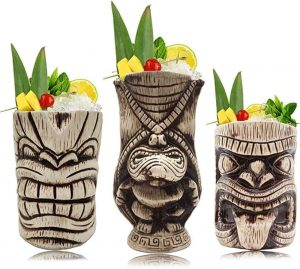 beige and brown carved ceramic tiki mugs set of 3 different designs that match