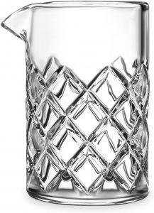 yarai style mixing glass with diamond pattern crystal