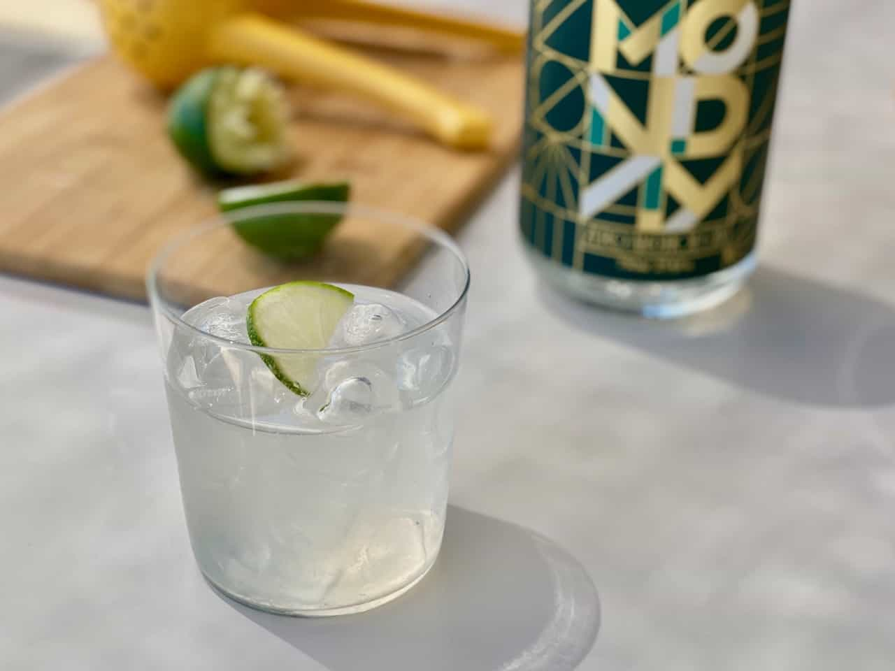 non alcoholic gin tonic with coconut water