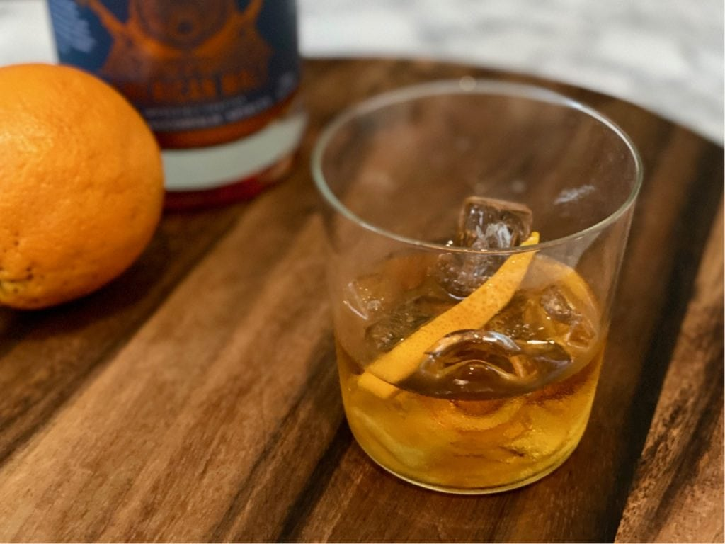 old fashioned mocktail with non alcoholic whiskey