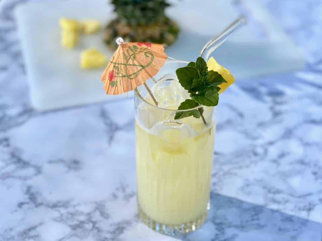 non alcoholic pina colada with lyres
