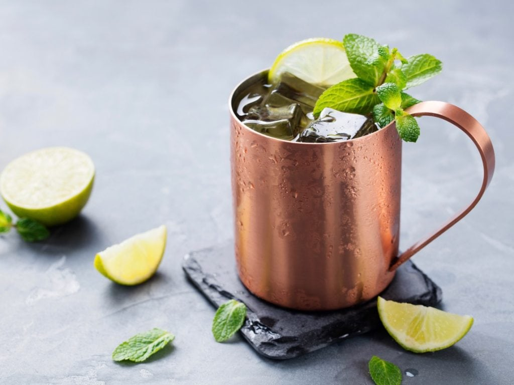 non alcoholic Moscow Mule with lime