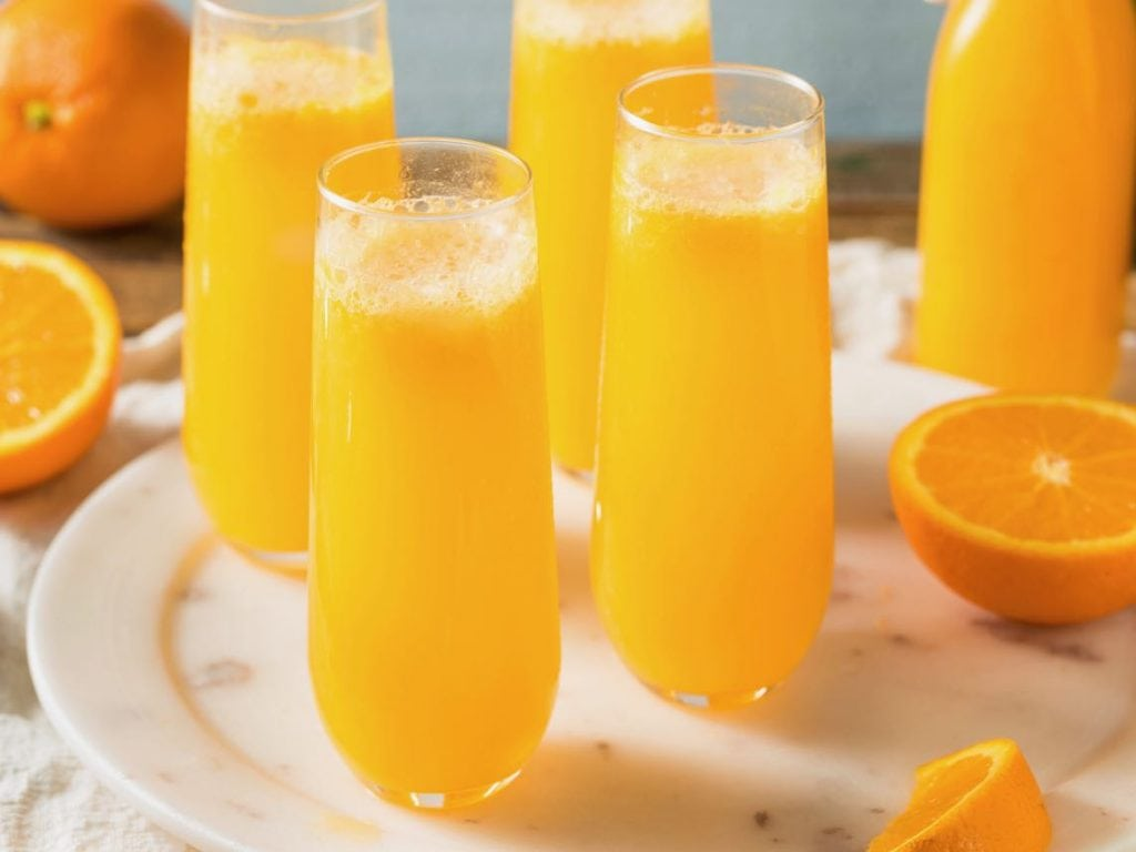 tray of non alcoholic mimosas