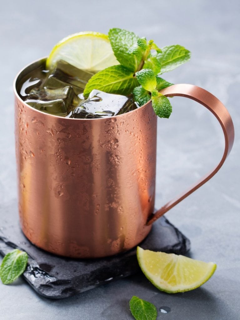 Moscow mule mocktail in a copper mug