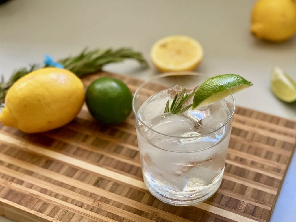 tonic water with rosemary and lime