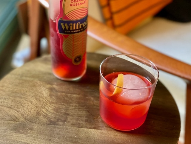 non alcoholic Negroni with Wilfreds aperitif and orange peel